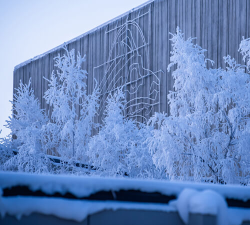 Seawolf logo adorns UAA's Professional Studies Building on a frosty winter day