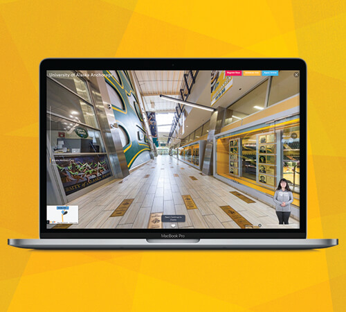 Laptop open to show preview of UAA's Virtual Tour