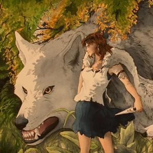 Girl and Large White Wolf