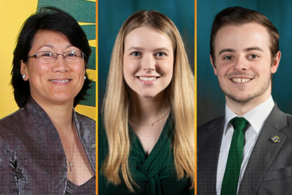 UAA's spring 2020 graduation speakers: Virigna Groeschel, Clare Baldwin and Alex Jorgensen