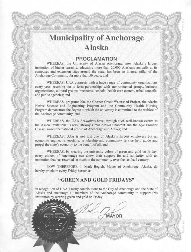 Green and Gold Friday Proclamation from Mayor Mark Begich