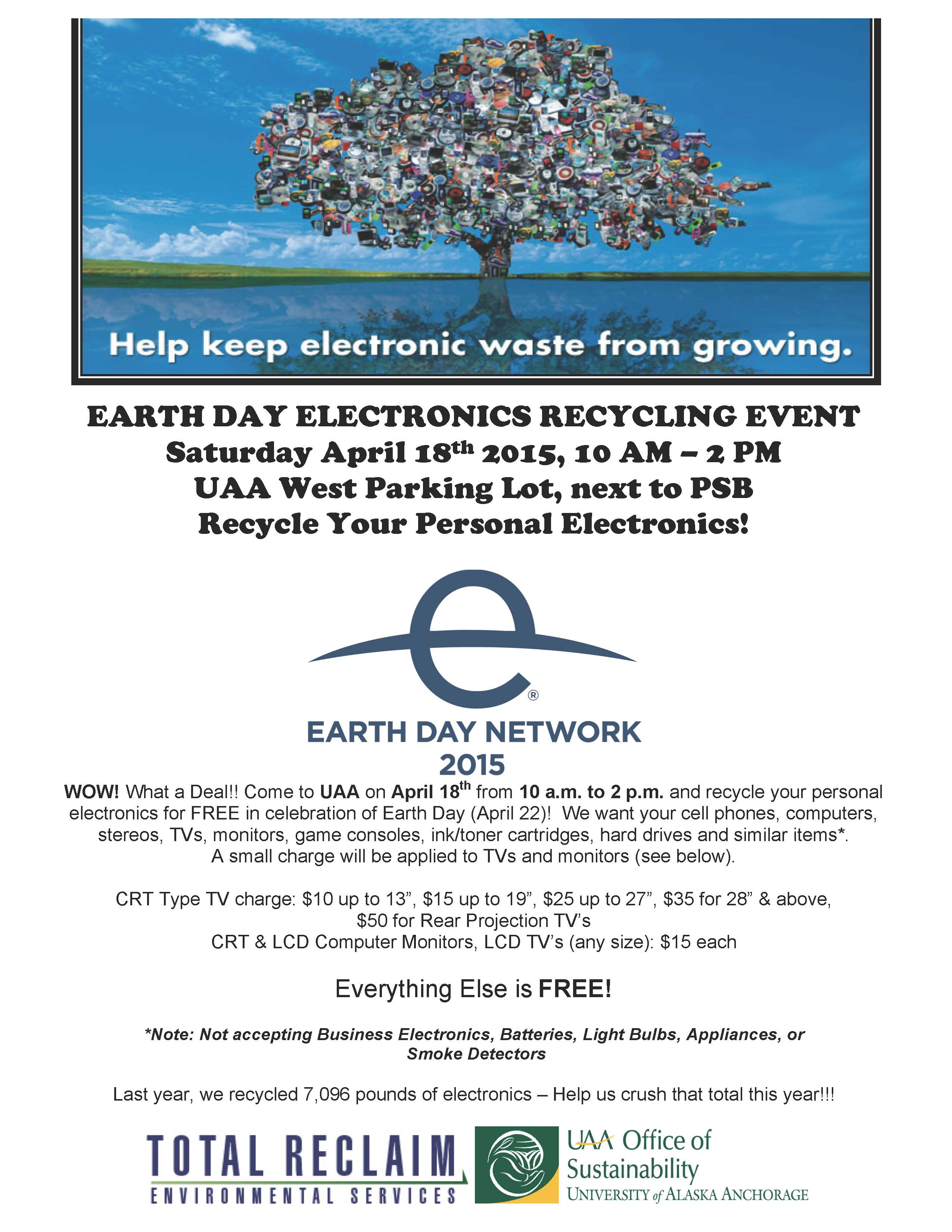 UAA Office of Sustainability Earth Day Electronics Recycling Event