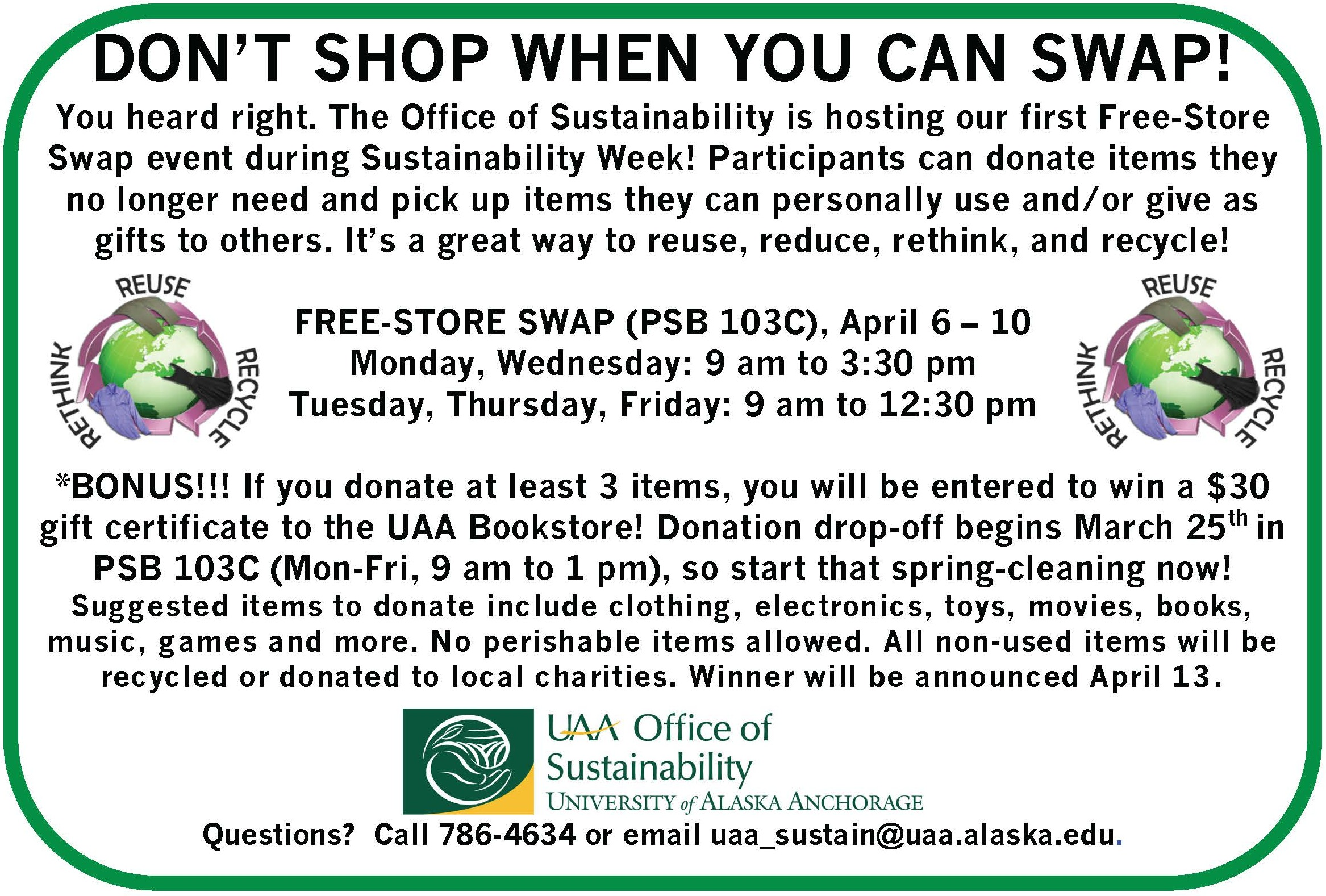 UAA Office of Sustainability Free-Store Swap