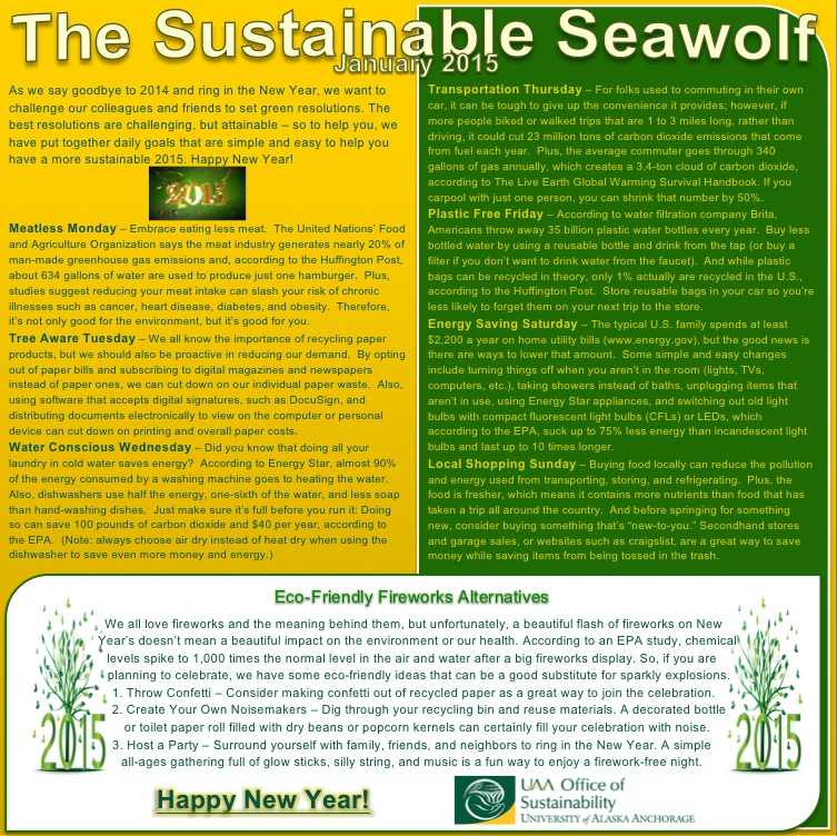 UAA Office of Sustainability January Newsletter