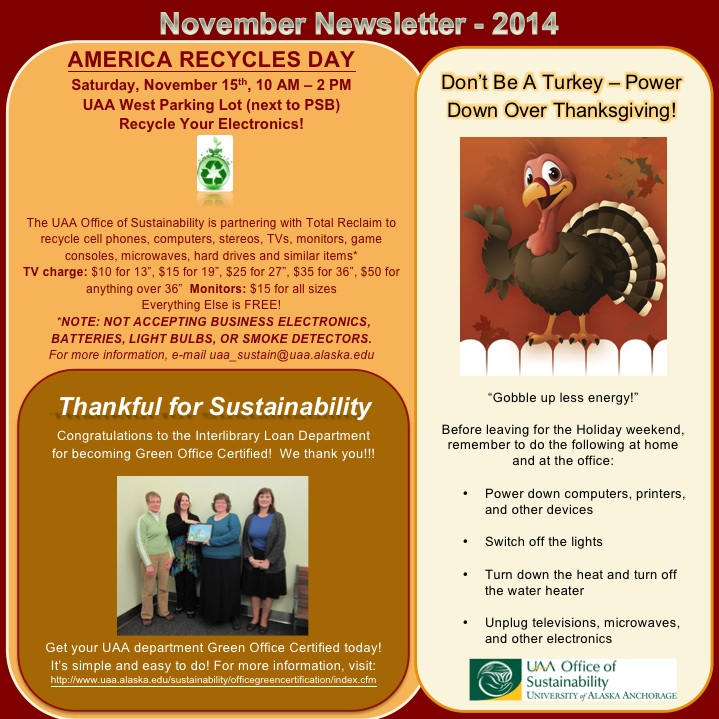 UAA Office of Sustainability November Newsletter