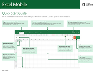 Office 2016 Mobile Excel Quick Start Guide