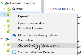 OneDrive Contextual Menu - Choose Folders to Sync
