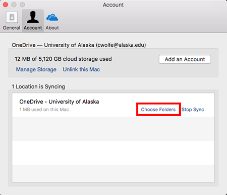 OneDrive Mac Client - Preferences Account tab
