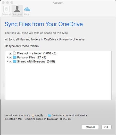 OneDrive Mac Client - Preferences - Account - Select Folders