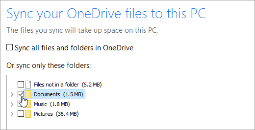 Sync your OneDrive files to this PC dialog window