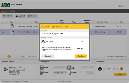 Managed Print Print Center Confirm Payment and Print dialog box