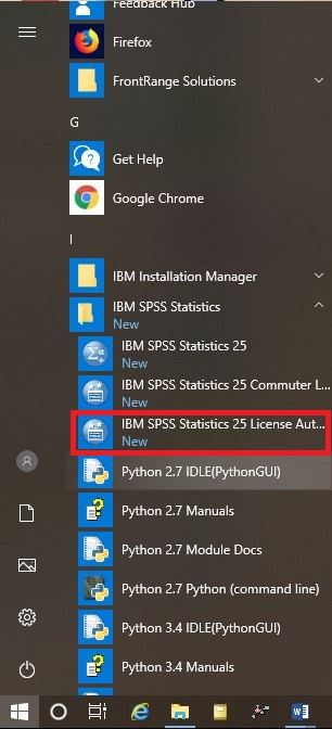 Windows Start Menu SPSS License Authorization Wizard