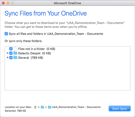 OneDrive Client select items to sync dialog window