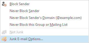 Steps to Resolution Junk Email Options