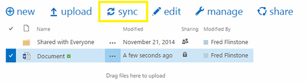 OneDrive Sync Button