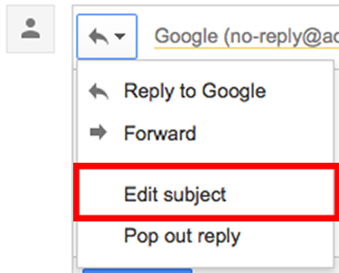 Gmail type of response - edit subject button