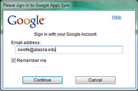 Google Apps Sync for Microsoft Outlook login screen