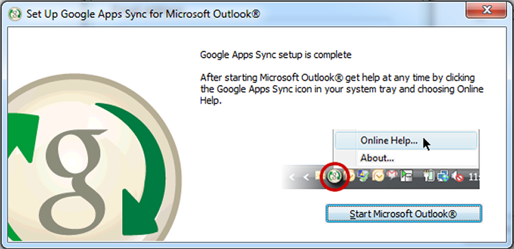 Google Apps Sync for Microsoft Outlook Setup Complete dialog