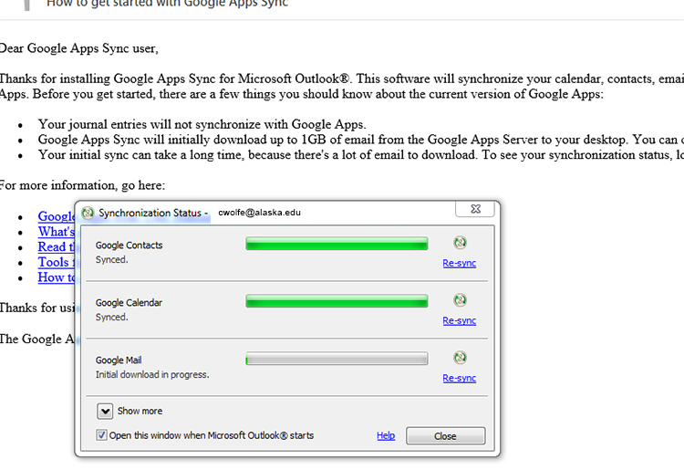 Google Apps Sync for Microsoft Outlook sync dialog