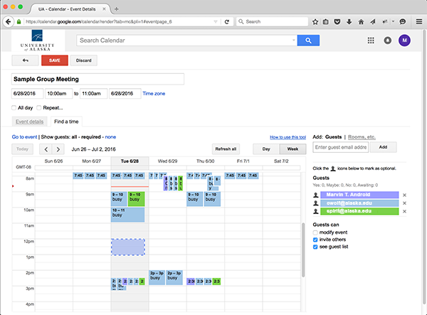 Google Calendar finding a good event time for all guests