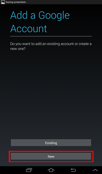 Android Settings - Add Account - New Google Account