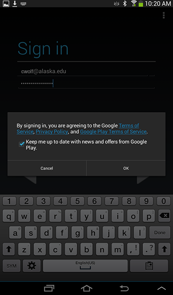 Android Settings - Add Account - Google Sign in confirmation dialog