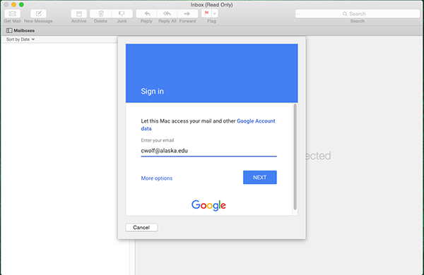 Mac Mail.app Google Sign in dialog