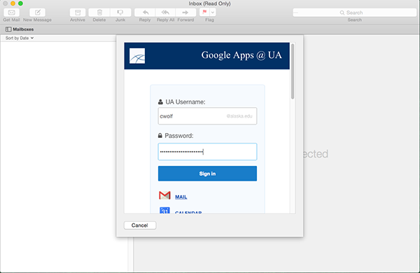 Mac Mail.app Google Apps at UA Sign in dialog window