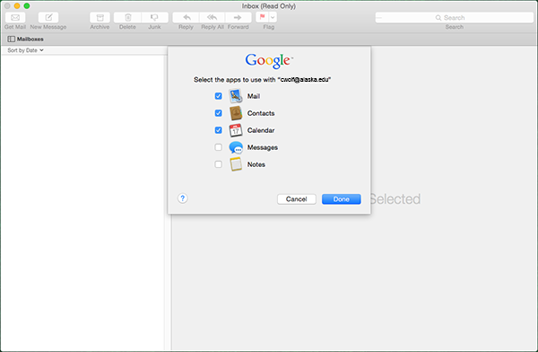Mac Mail.app Select apps for use with Google dialog window
