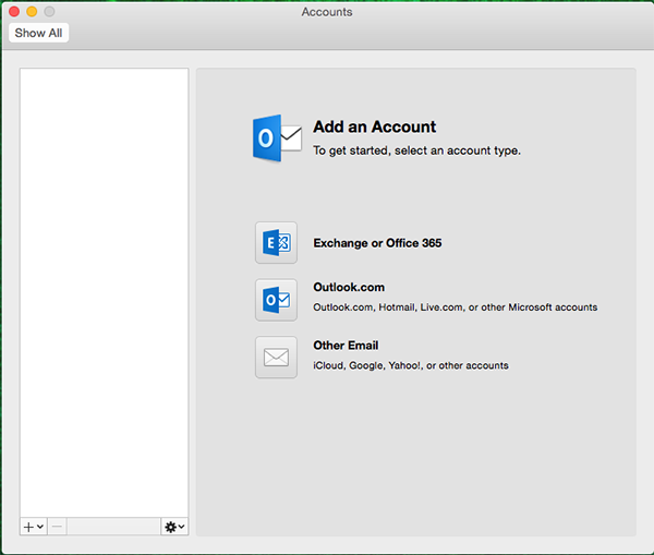 Microsoft Outlook 2016 for Mac Add Account window