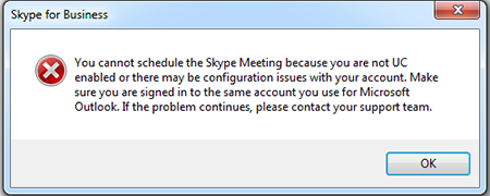 New Skype Meeting error message with Google Calendar