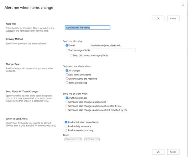Microsoft SharePoint Online Alert Me Folder Options