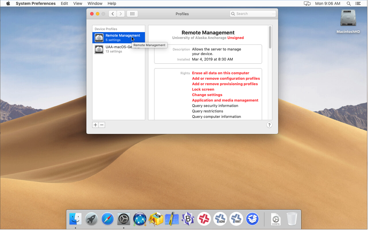 Screenshot of the Profiles tab in Remote management in Mac