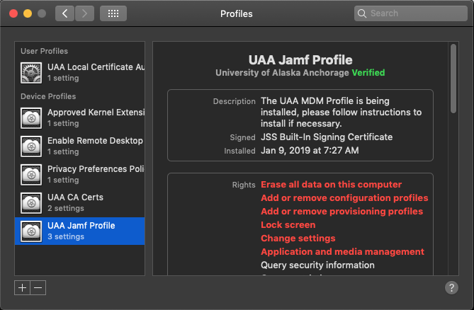 Screenshot of Jamf Profile already installed