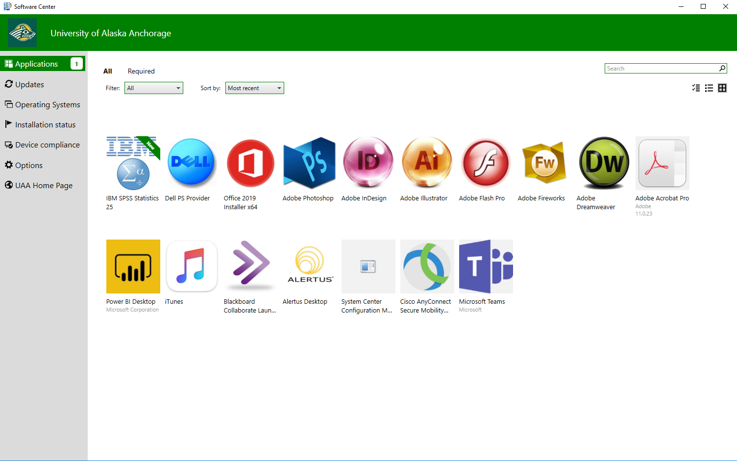 Screenshot of Software Center's Applications Tab