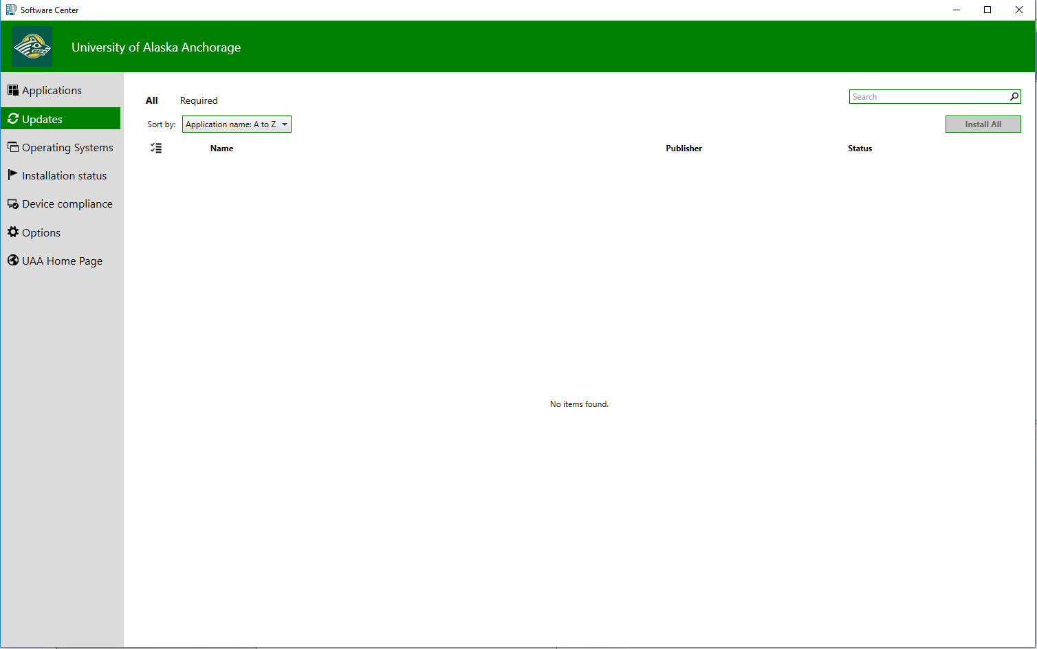 Screenshot of Software Center's Updates tab
