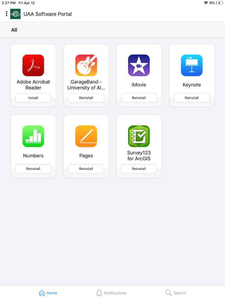 Screenshot of Software Center for iOS with Apps listed