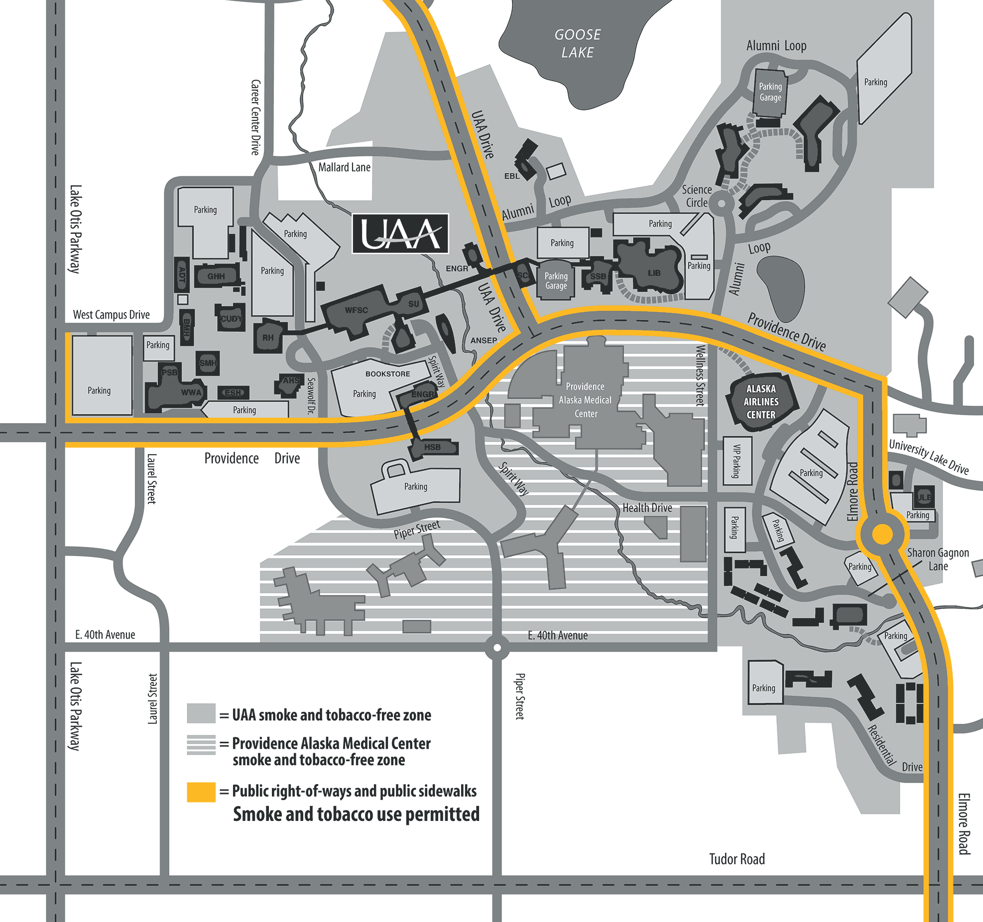 UAA Smoke and Tobacco Use Zone Map