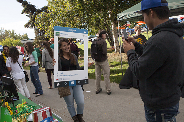 UAA students pose for a selfie at the Campus Kick-Off event.