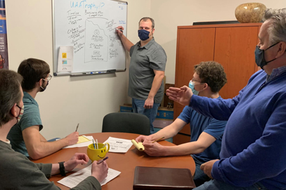 Alaska Data Solutions team brainstorms ideas for a new sponsored award for the CBPP Business Plan Competition