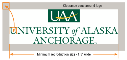 UAA primary logo spacing and size