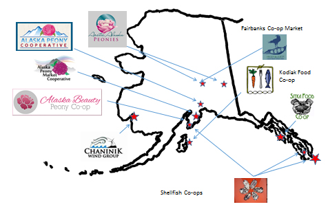 Cooperatives throughout the state of Alaska shown on a map. Types of coops shown are peony, shellfish, food, and electric