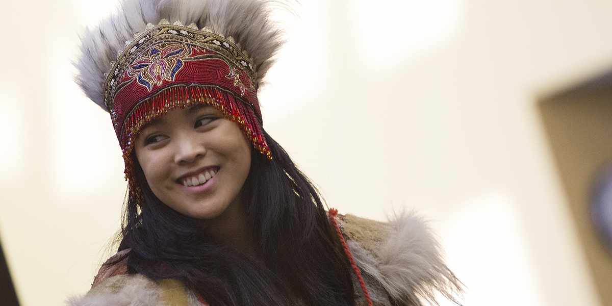 Alaska Native Student in full cultural dress