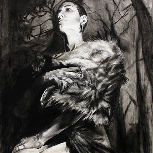 Drawing of Woman in a fur