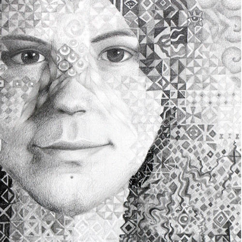 Drawing of a female face and geometric overlay