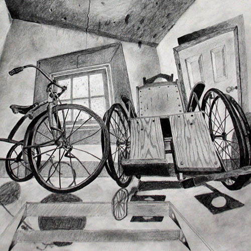 Drawing of an old style wheelchair and bicycle