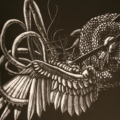 Drawings of wings, scales, and music notes