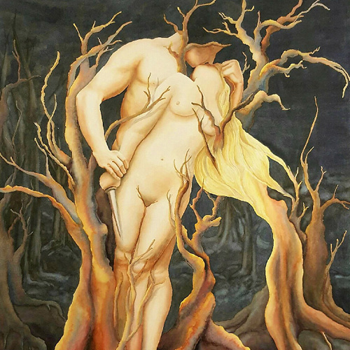 nude of man and woman entwined in a tree