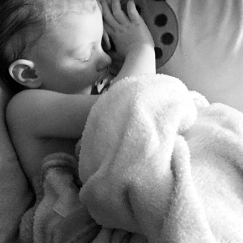 black and white of sleeping baby