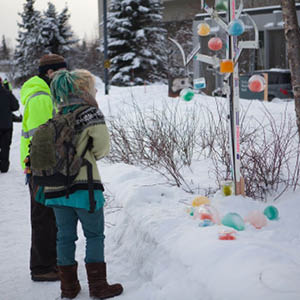 students looking at balls of colored ice hanging from a tree